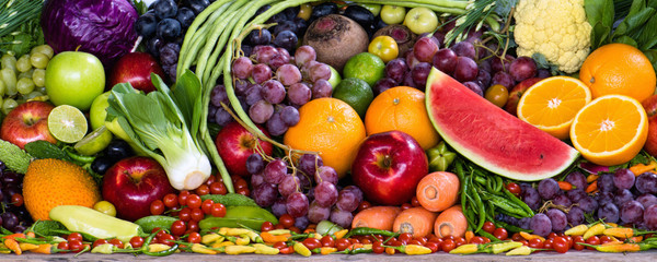 Various fruits and vegetables for healthy