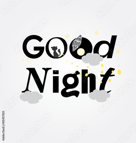 Naklejka symbol monochrome picture good night to print up cards with cat and stars