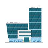 Cute cartoon vector illustration of an office building