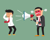 Angry boss shouting at employee on megaphone vector illustration