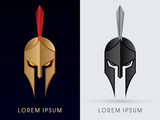Roman or Greek Helmet , Spartan Helmet, Head protection, warrior graphic vector.