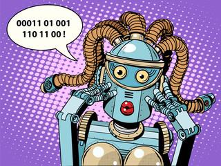 woman robot surprised