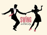 Handsome man and pinup girl dancing swing. Black silhouettes