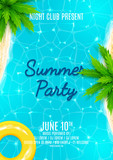Fototapety Summer party flyer. Beautiful background on the sea topic with sea shore, sea water and palm trees. Vector illustration.