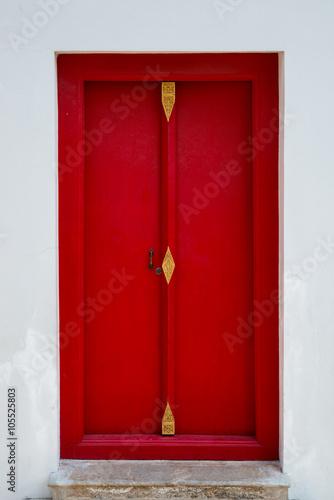 Chinese red door with Iron door handle Poster