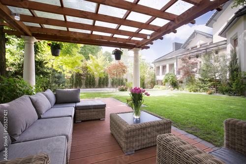 Fridge magnet Verandah with modern garden furniture