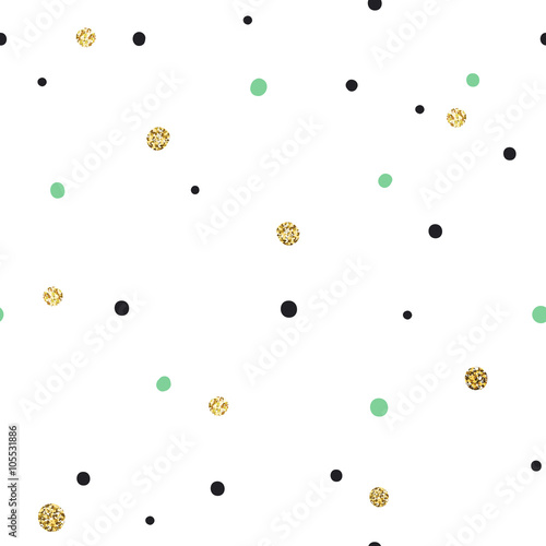 Abstract Seamless Pattern on White Background with Black and Gol - 105531886