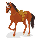 Beautiful saddled horse standing on white background