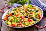 Colorful Vegetarian Paella Rice Dish Served in Pan - 105540480