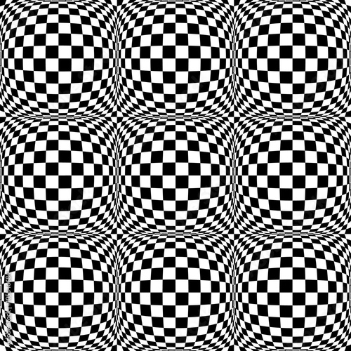 Seamless 3d pattern with mosaic of squares with bulging distorti - 105546684