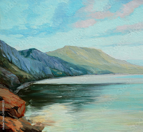 sea landscape oil on canvas, illustration © Mikhail Zahranichny