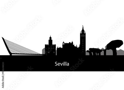 skyline of the city of Seville in Spain