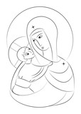 Blessed Virgin Mary Madonna with child icon abstract drawing - 105561266