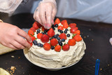 cake with berries and cream