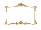 Golden vintage frame. Isolate mirror. Design retro element.  physical realistic reflection .