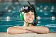 Young underwater hockey player