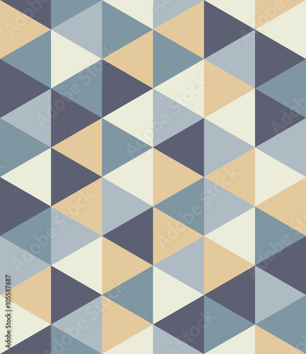 Vector modern seamless colorful geometry triangle pattern, color abstract geometric background, pillow multicolored print, retro texture, hipster fashion design - 105587687