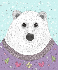 Cute hipster polar bear with christmas sweater. Winter illustrat
