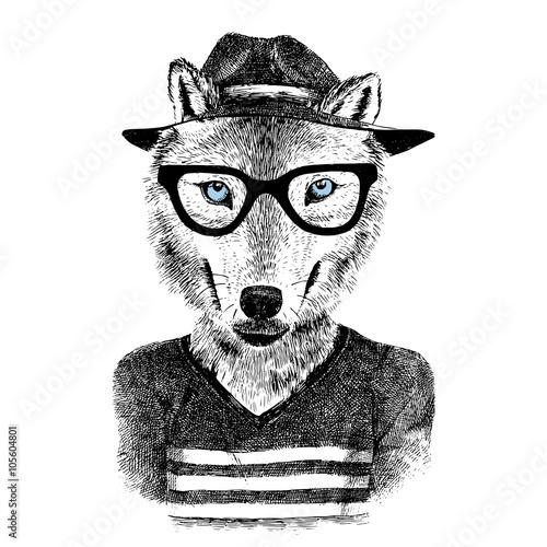 Fototapeta Dressed up wolf
