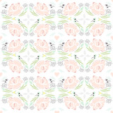 Seamless spring kaleidoscope floral pattern. Background with fl - 105605061