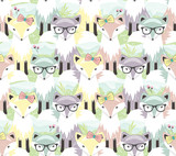 Cute little fox seamless pattern. Background with animals for ch - 105605218