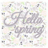 Printable spring wall art with floral pattern and typography. Ve - 105605238