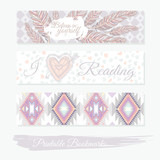 Printable bookmarks with feathers, aztec pattern and heart. Vect - 105605252