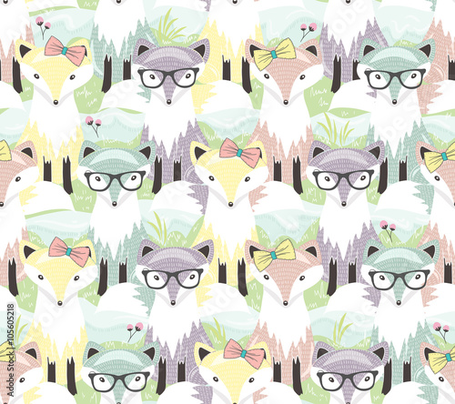 Cute little fox seamless pattern. Background with animals for ch