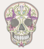 Cute mexican skull. Colorful skull with flower, gem, hearts and - 105605416