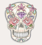 Cute mexican skull. Colorful skull with flower, gem, hearts and - 105605426