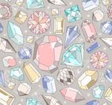 Cute seamless gems pattern - 105605435