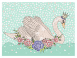 Cute swan with crown and flowers. Fairytale background for kids - 105605444