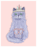Cute purple cat princess with crown and ribbons. Fairytale vecto - 105605693