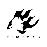 fireman in flame abstract vector design template