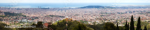Fototapeta Barcelona city from Tibidabo in day time. Spain
