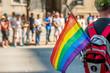 Man holds Rainbow gay flag