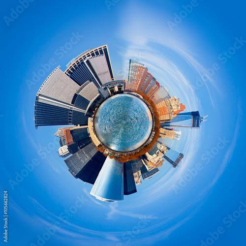 Foto op Canvas Texas New York City 360 degree panorama. Unique view of city as a tiny round planet floating in space.