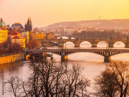 Foto op Canvas Mediterraans Europa Prague bridges at sunset time