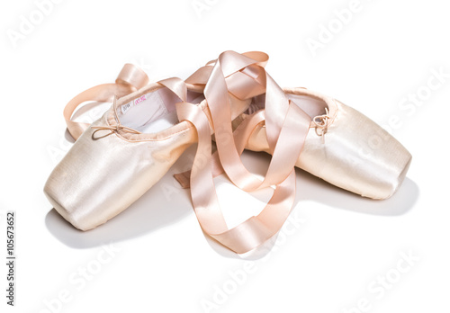 Pink ballet shoes isolated Poster