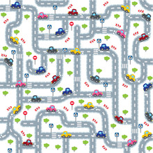 Road seamless pattern with funny cars