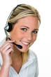 Frau mit Headset im Kundenservice - 105678255
