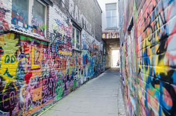 Graffiti street (Werregarenstraat) in Ghent. Belgium