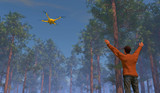 Male figure in a forest setting waving to a UAV drone. Fictitious UAV is a unique design. Depicting the use of drones in search and rescue operations; lens flare, depth-of-field, motion blur.