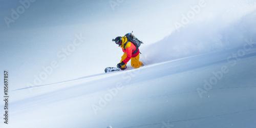 obraz PCV Snowboarding in the winter