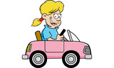 Cartoon illustration of a girl driving a toy car.