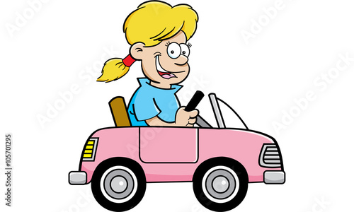 Fotobehang Auto Cartoon illustration of a girl driving a toy car.