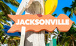 Jacksonville signpost with palm trees