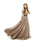 Fototapety Woman Brown Dress, Fashion Model in Long Gown Turning on White
