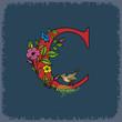 Постер, плакат: Буква С с цветами и птичкой красная на синем винтажном фоне