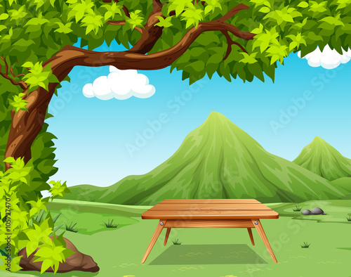 Poster Lime groen Nature scene with picnic table in the park
